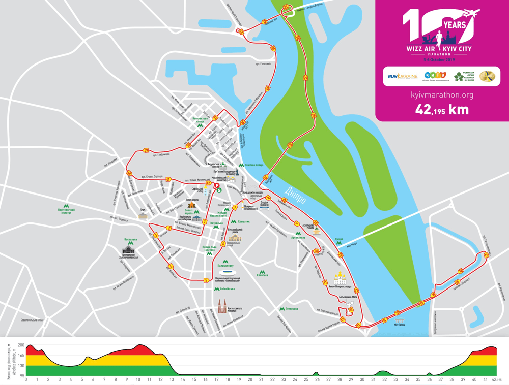 Маршрут марафона Wizzair 10 Kyiv City Marathon