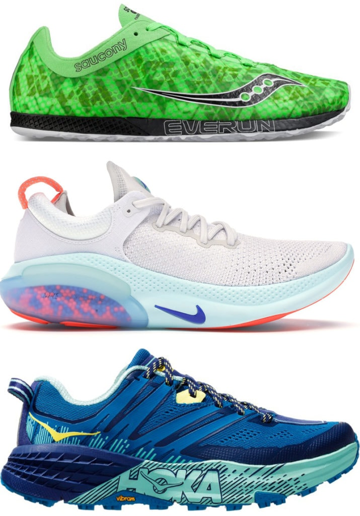 Saucony Endorphin Racer 2 (марафонки), Nike Joyride Run Flyknit (для длинных пробежек), Hoka One One SpeedGoat 3 (для трейла)