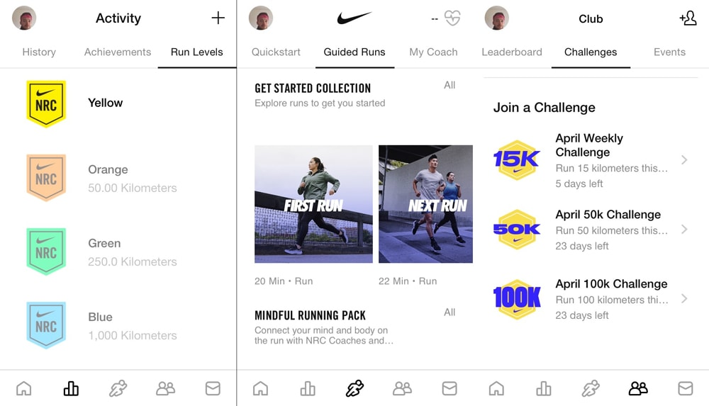 Скриншоты Nike Run App