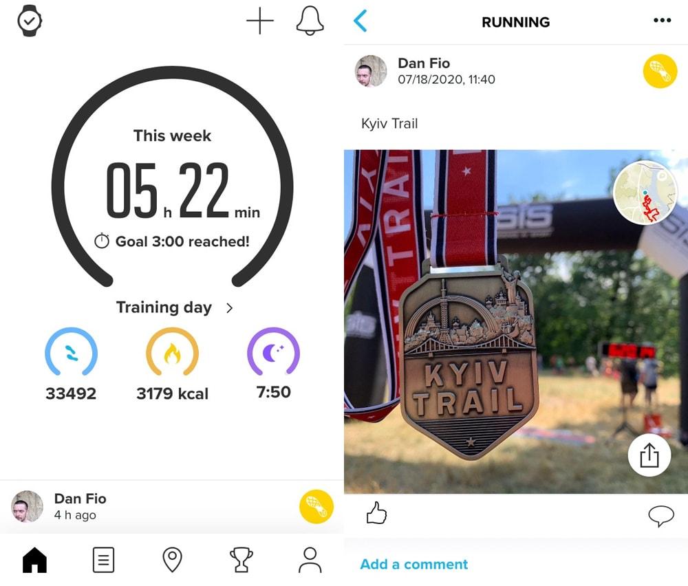 Приложение Suunto App: главный экран и результат тренировки