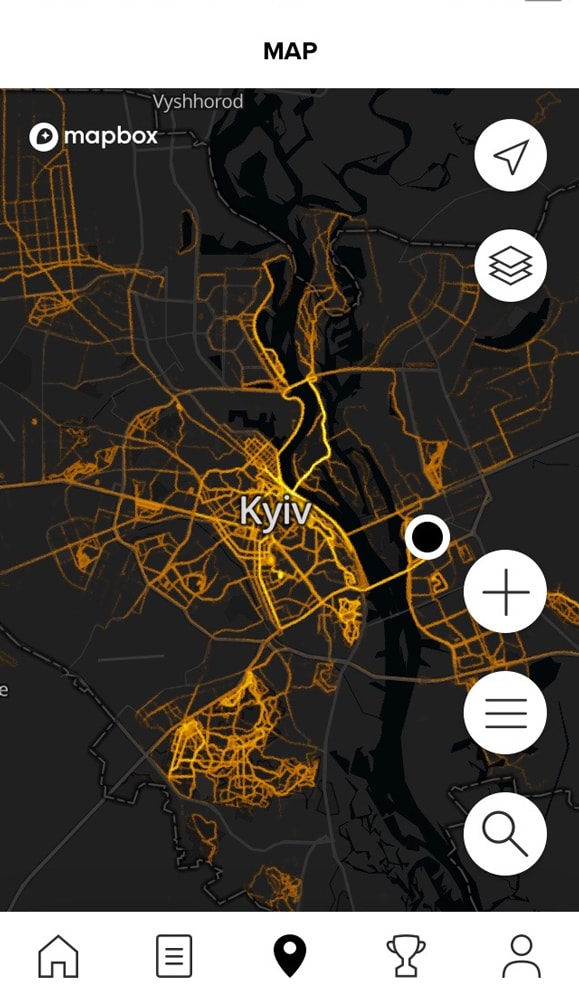 Тепловая карта беговых маршрутов в Suunto App