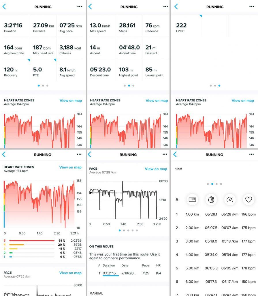 Результаты беговой тренировки в приложении Suunto App
