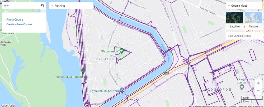 Карта популярности маршрутов в Garmin Connect