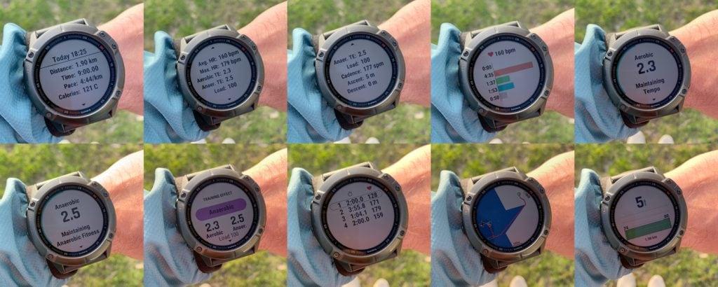 Детальная статистика беговой тренировки в Garmin Fenix 6x Pro