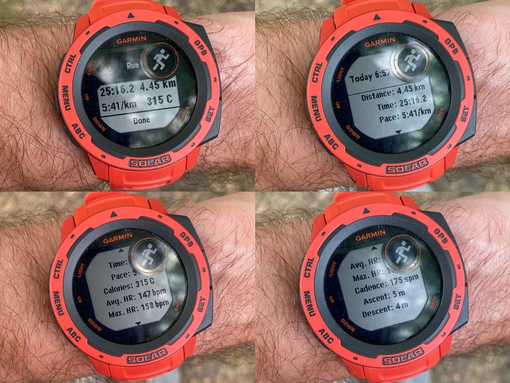 Результаты беговой тренировки с Garmin Instinct Solar